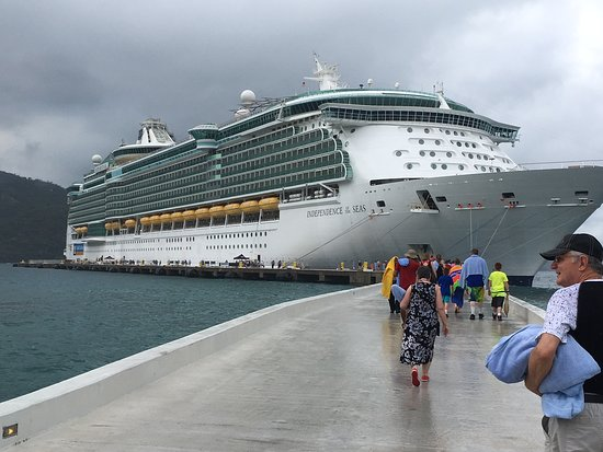 Independence of the Seas: View of The Independence from the dock in Labadee.
