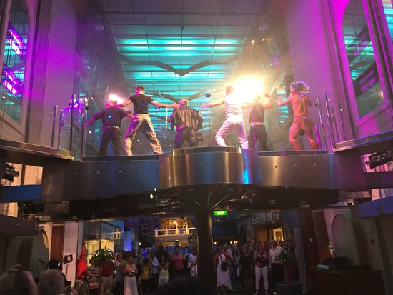 Independence of the Seas: Dancin in the Street (70's music).  Tons of fun!