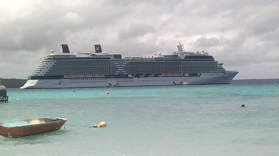 This is picture of the Celebrity Solstice at Lifou Island where we went swimming