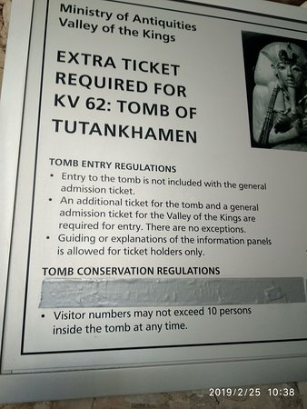 Infornation Board at Valley of the Kings. Abot Tomb of Tutankhamen.