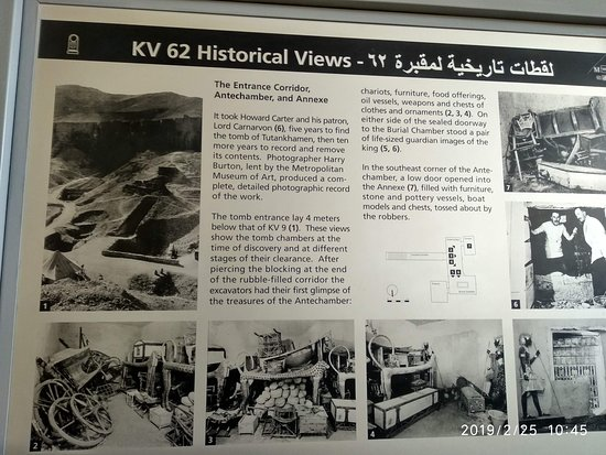 Infornation Board at Valley of the Kings. Abot Tomb of Tutankhamen. Photo shows how the treasures were stored in tomb of Tutankhamen on opening the tomb afterits discovery.