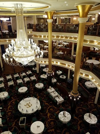 Liberty of the Seas: Main Dining Room view from Deck 5. The table on the bottom right corner was