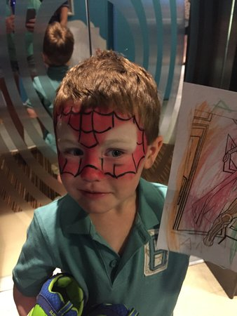 Norwegian Epic: Superhero afternoon at kids club. He loved it so much he slept in his spide