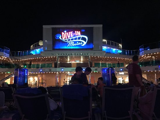 Carnival Dream: Movie night outside - needs to fix the screen, lots of broken pixels.