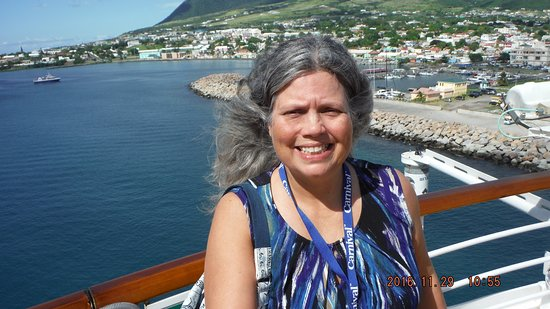 Carnival Magic: A hot sexy mama selfie of me with St Kitts Island in the background.
