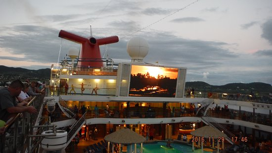 Carnival Magic: Looking over the Lido Pit, the Dive In and Funnel.