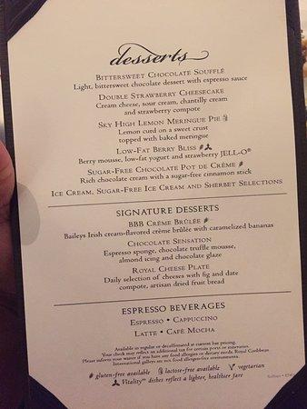 Allure of the Seas Dessert Menu