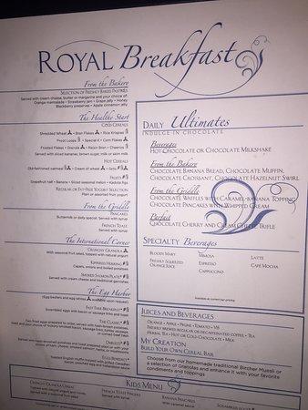 MDR Breakfast Menu, Allure of the Seas