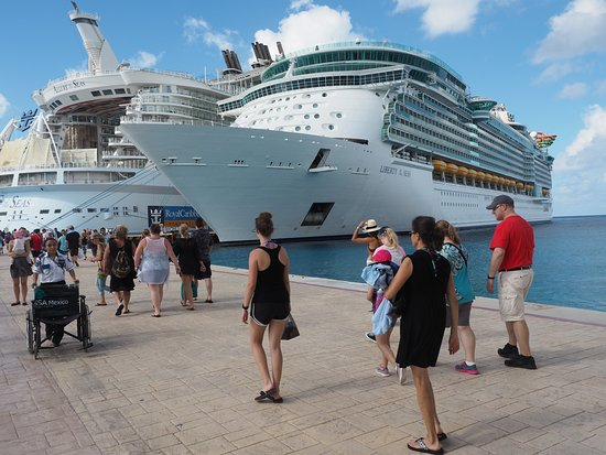 Liberty of the Seas: The Liberty docked next to the Allure in sunny Cozumel