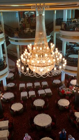 Independence of the Seas: Chandelier from main dining room.  Dinners were very good.