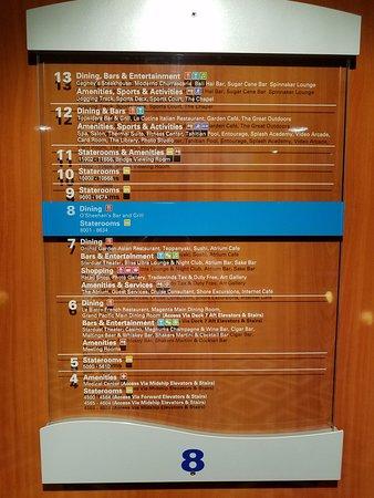 Norwegian Gem: Info of area by elevators.