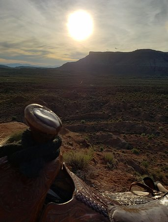 Sun setting behind the ridge