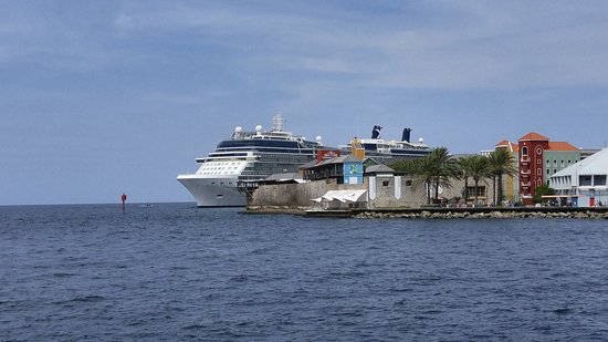 Celebrity Equinox: View of ship from downtown in Curacao.
