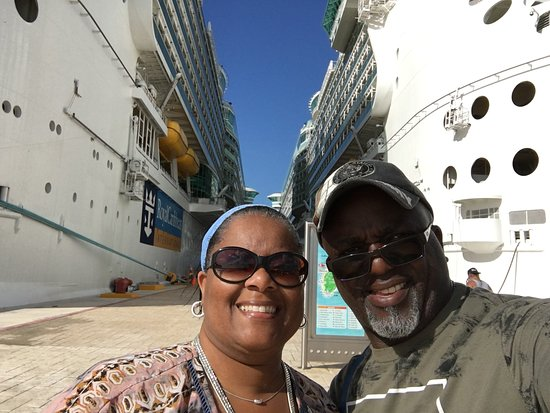 Standing in between the LIBERTY OF THE SEAS & FREEDOM OF THE SEAS!!!!! How awesome our these two beauties??