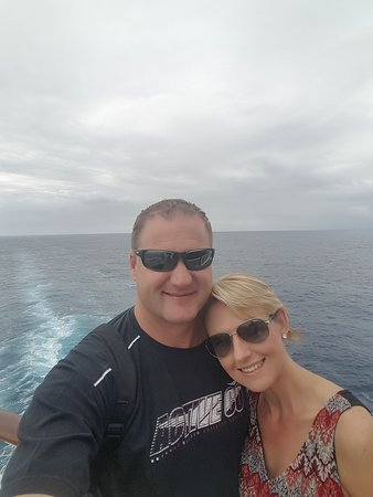 """MSC Sinfonia: Me and my husband at the back of the ship - """"King & Queen of the world&"""