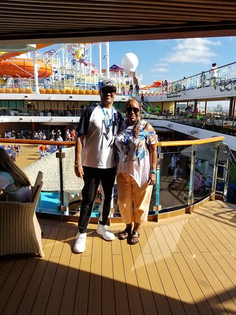 Carnival Magic: On the Lido deck on the first day waiting for the sail a way party.