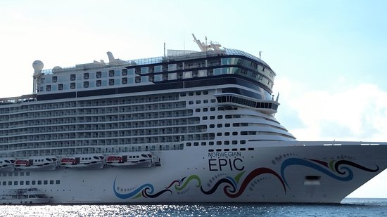Norwegian Epic: The ship while returning on a tender from Grand Cayman.