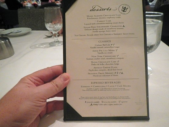 Allure of the Seas: One of the many dessert menus we got in the main dining room of Allure of t