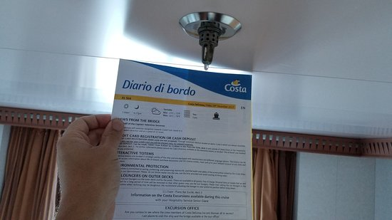 Costa Deliziosa: Fire sprinkler leaking in room. This happened for several hours.