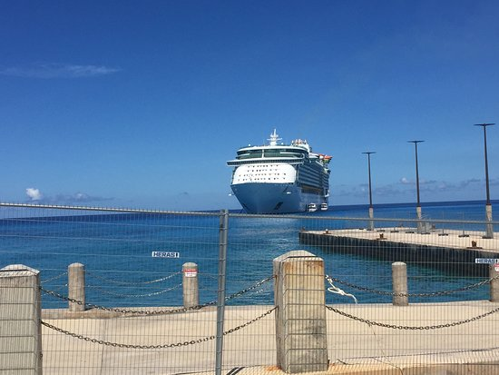 Liberty of the Seas: View of the ship from the dock in the Cayman Islands. This is a port we ten