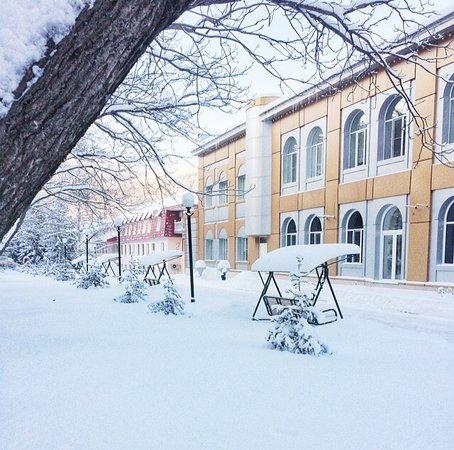 Территория санатория зимой
