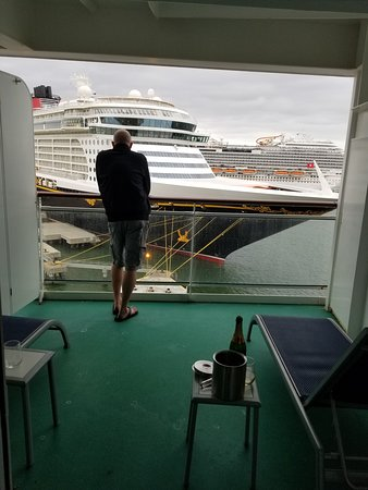 Norwegian Epic: This is our balcony the day of wo th champagne and strawberries