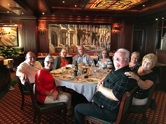 Emerald Princess: This is our group having Surf and Turf in the Crown Grill. It was the best