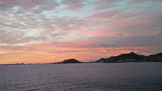 Celebrity Equinox: Sunset leaving St. Maarten