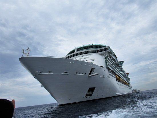 Liberty of the Seas: A shot of the ship while tendering at George town, Grand Cayman.