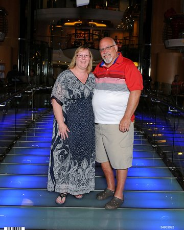 Liberty of the Seas: My wife and myself on the glass bridge.