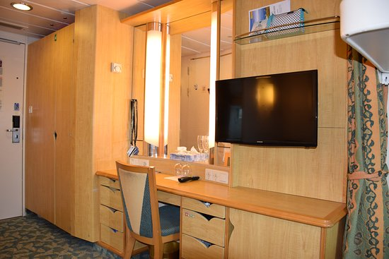 Liberty of the Seas: Closet and Vanity area. The desk and Vanity had a good size, the closet was