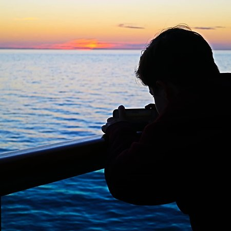 Ruby Princess: Taking a sunset photo from our cabin balcony.