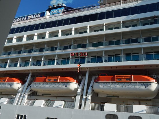 Norwegian Jade: location, near the back of the ship, starboard side