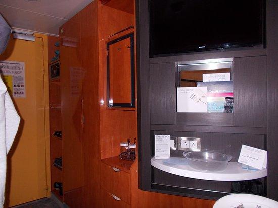 Norwegian Jade: safe, closet and movable tv