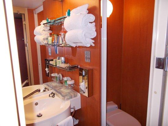 Norwegian Jade: toilet on the right, with glass door
