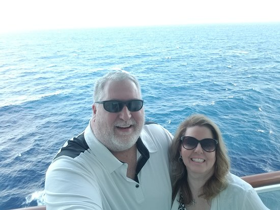 Norwegian Epic: On our balcony. Beautiful blue waters to gaze at