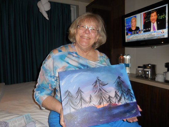 Norwegian Epic: Annas painting masterpiece that she did. First time participating in a