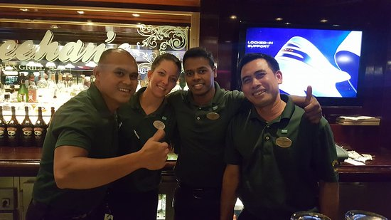 Norwegian Epic: Bartenders at O'Sheehan's (Rafael, Jovanna, Victor, and Loman)...Aw