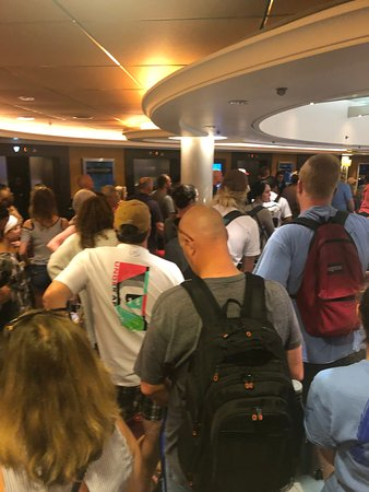Norwegian Epic: Waiting for disembarkment for 3 hours (not pictured: thousands of people wa