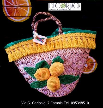 coffa siciliana con limoni di sicilia realizzati con l'uncinetto