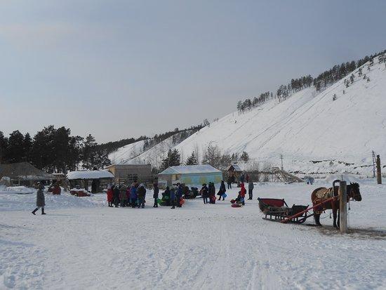 View Point Chochur Muran (Chochur Muran Mountain) Yakutsk, Russia. Steep climb in winter.