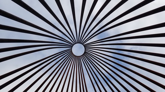 Islamorada Yoga: View looking-up from inside the art installation in the parking lot