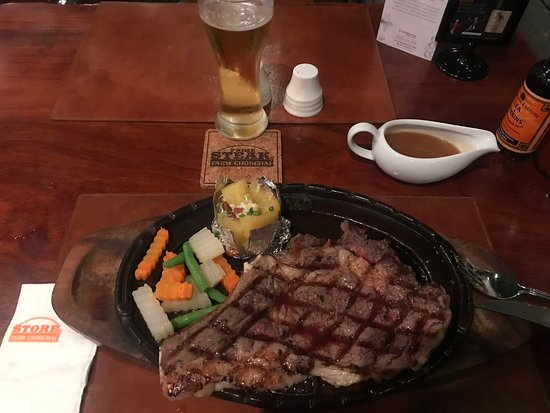 Great stake on a sizzling platter