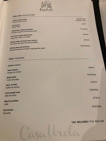 Casa Urola:  menu III