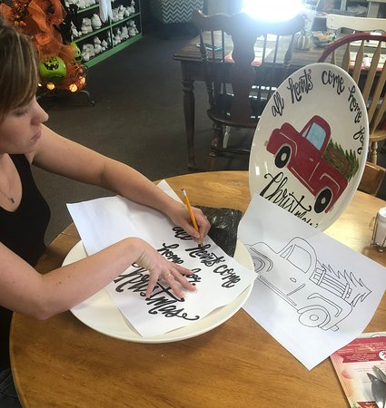 Paint with Tracing Paper Class at Village Pottery Cafe