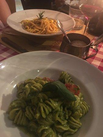 Fusilli pasta with pesto and spaghetti carbonara