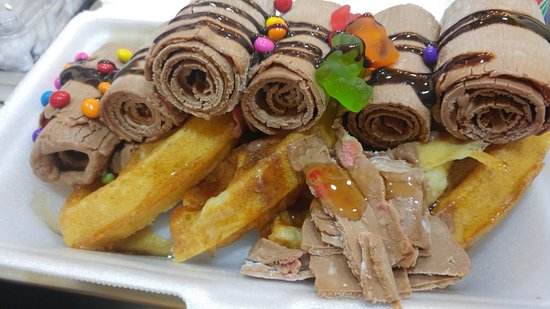 Waffles with Ice Cream Rolls and toppings.