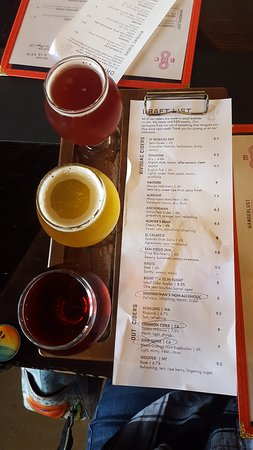 Cider Flight. Circle 3 choices from the menu and they will be arranged in order of selection.