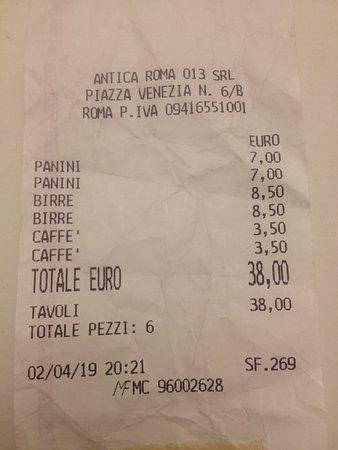 """Piazza Venezia / Starověké město: Lo scontrino è relativo alla mia recensione sul locale """"Antica Roma"""" di Piazza Venezia"""