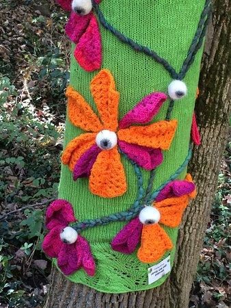 crocheted flower tree